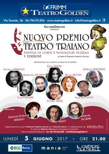 Nuovo Premio teatro Traiano, Festival Nazionale di corti e monologhi teatrali, la finale al Teatro Golden