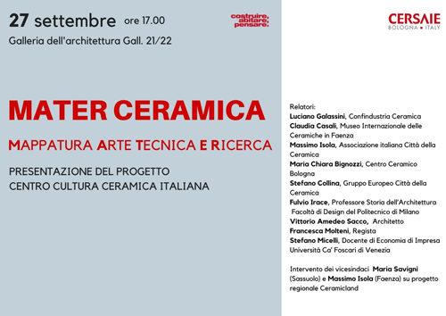 Mater Ceramica, la Mappatura Arte Tecnologia e Ricerca della Ceramica Italiana la presentazione a Cersaie