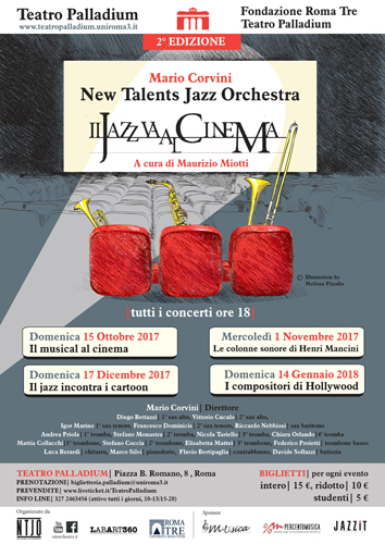 "Il Jazz ""torna"" al cinema, al Teatro Palladium con la New Talents Jazz Orchestra"