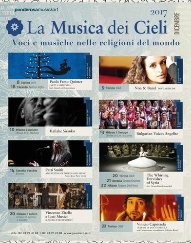 La musica dei cieli 2017 a Milano e provincia, Torino, Brescia, Casertavecchia e Taranto con Patti Smith, Noa & Band, Vinicio Capossela e altri artisti