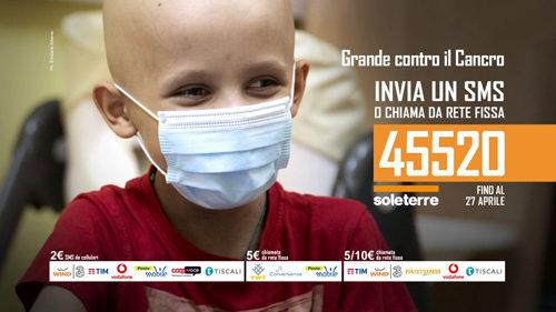 """SOLETERRE, prolungata fino al 27 aprile la campagna SMS """"GRANDE CONTRO IL CANCRO"""""""