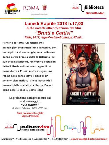 """Proiezione del film """"Brutti e cattivi"""" e del cortometraggio """"Via Balilla"""" alla Biblioteca Gianni Rodari di Roma"""