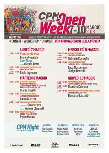Torna da lunedì 7 l'Open Week al CPM Music Institute, scuola diretta e fondata da Franco Mussida