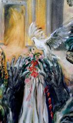 Pace in Terra Santa, stop alla guerra, finiamo questo massacro di vite, in un grandioso dipinto di Guadagnuolo