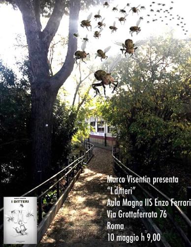 """Marco Visentin presenta """"I ditteri"""" al Bibliopoint Vallauri dentro l'Istituto """"Enzo Ferrari"""", nell'ambito del Maggio dei Libri"""