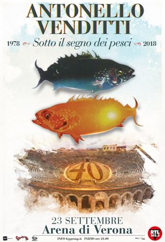 """Antonello Venditti all'Arena di Verona con """"Sotto il segno dei pesci 2018"""", concerto Sold Out!"""