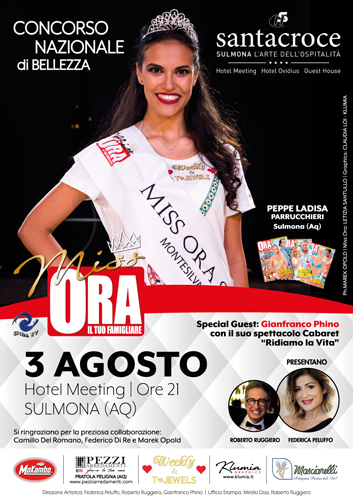 Bellezza: il 3 agosto Miss Ora sbarca a Sulmona