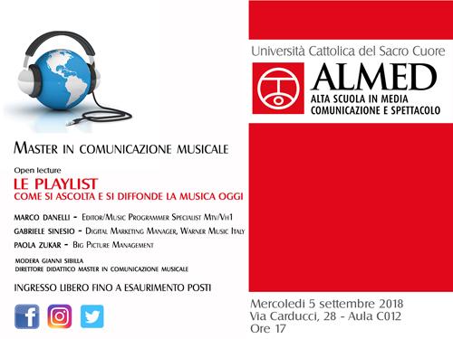 All'Università Cattolica di Milano la lezione aperta del Master in Comunicazione Musicale