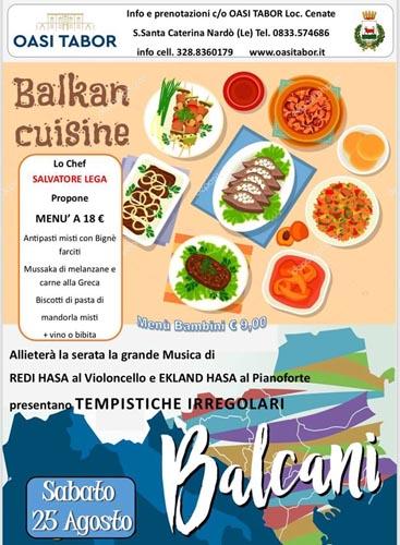 Tempistiche irregolari dai Balcani all'Oasi Tabor con il concerto di Ekland e Redi Hasa e il menù dello chef Salvatore Lega