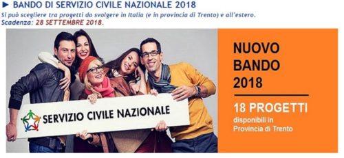 Servizio civile nazionale 2018, in Trentino 18 progetti per 104 posti