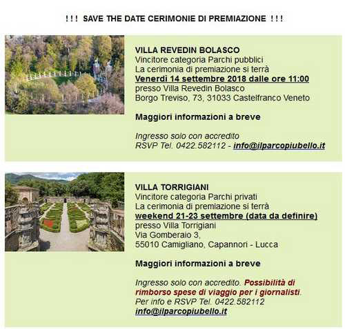 Concorso il Parco più bello d'Italia 2018, i vincitori