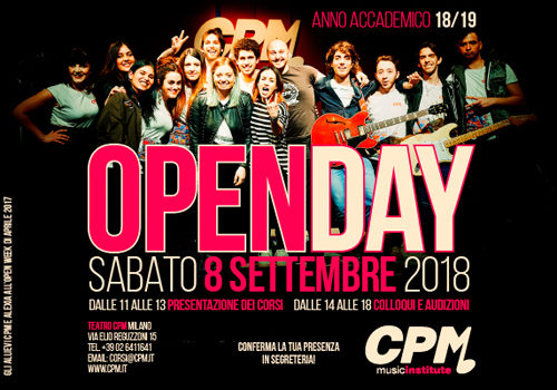 Open Day al CPM Music Institute di Franco Mussida a Milano. Il 15 settembre Open Day Junior