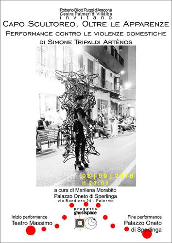 """Capo Scultoreo """"Oltre le Apparenze"""", la performance di Simone Tripaldi Artènos contro le violenze domestiche"""