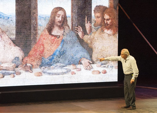 Vittorio Sgarbi in Leonardo al Teatro Olimpico di Roma