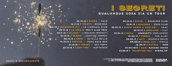 """Continua il """"Qualunque cosa sia un tour"""" de I Segreti, per presentare live """"Qualunque cosa sia"""""""