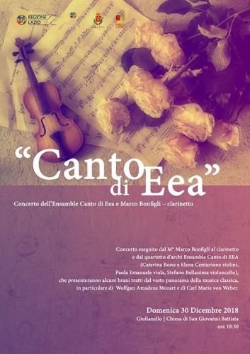 """Canto di EEA a Giulianello. Concerto del quartetto d'archi """"Ensamble Canto di EEA"""" e del clarinettista Marco Bonfigli"""
