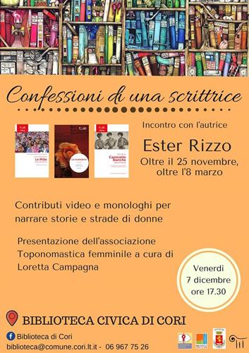 """Confessioni di uno Scrittore il libro di Ester Rizzo. La presentazione alla Biblioteca comunale """"Elio Filippo Accrocca"""" di Cori"""