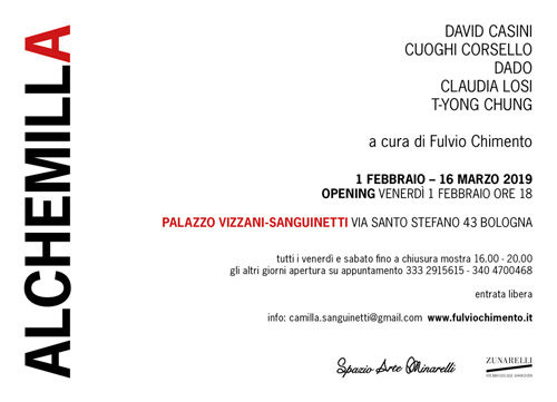 Alchemilla, la mostra a Palazzo Vizzani-Sanguinetti di Bologna con le opere di David Casini, Cuoghi Corsello, Dado, Claudia Losi, T-yong Chung