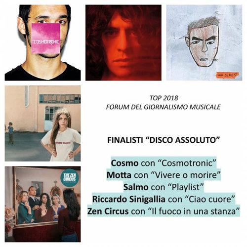 """Cosmo, Motta, Salmo, Sinigallia, Zen Circus in finale nella """"TOP 2018"""" del 'Forum del giornalismo musicale'"""