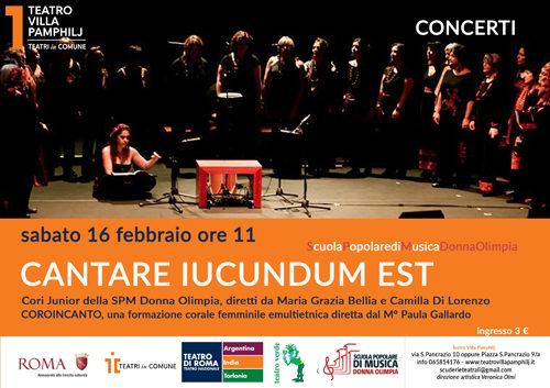 """Cantare iucundum est"". Concerto benefico a favore Ass. AMACA Onlus al Teatro Villa Pamphilj di Roma"