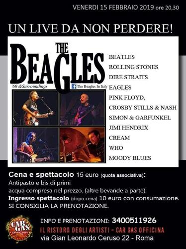 I Beagles irrompono sul palcoscenico del famoso locale di Roma Car Gas Officina