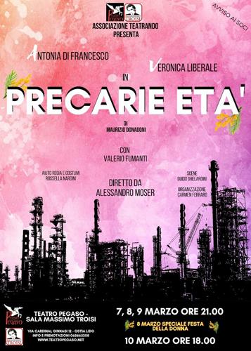 """Antonia Di Francesco e Veronica Liberale dirette da Alessandro Moser, sono le protagoniste di """"Precarie Età"""", una prima assoluta al Teatro Pegaso di Ostia"""