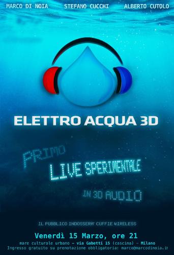 Elettro Acqua 3D Live: il 15 marzo a Milano il primo concerto in assoluto in 3D audio con Marco di Noia, Stefano Cucchi e Alberto Cutolo