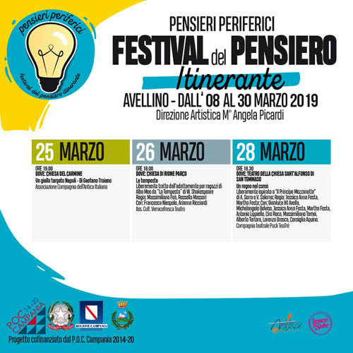 Ad Avellino il teatro per grandi e piccini nel Festival del Pensiero Itinerante: gli appuntamenti dal 25 al 28 marzo