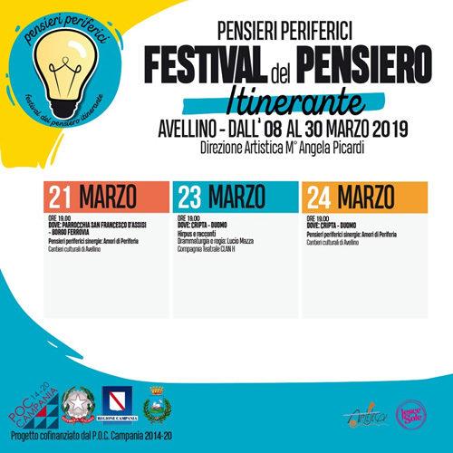 Il Festival del Pensiero Itinerante ad Avellino entra nel vivo: gli appuntamenti dal 21 al 24 marzo