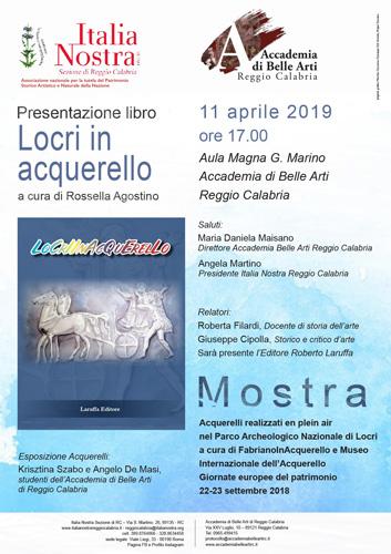 """Locri in acquarello, la presentazione del volume all'Accademia di Belle Arti – Aula Magna """"G. Marino"""" Di Reggio Calabria"""