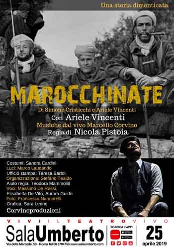 Ariele Vincenti in Marocchinate di Simone Cristicchi e Ariele Vincenti in scena al Sala Umberto di Roma il 25 aprile 2019