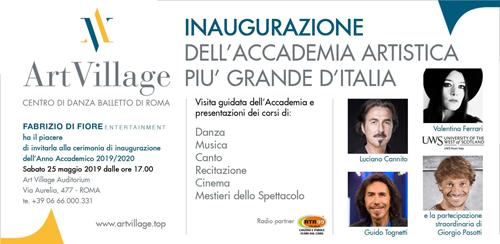 Artvillage. L'accademia artistica più grande d'Italia. L'inaugurazione sabato 25 maggio