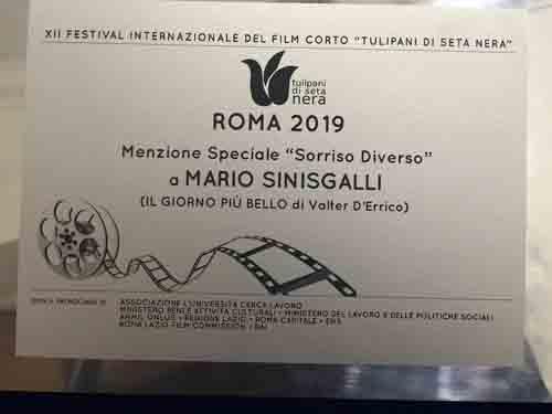 """Mario Sinisgalli tra i premiati del Festival Internazionale del Film Corto """"I Tulipani di Seta Nera"""""""