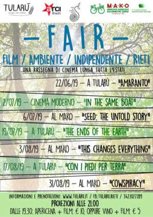 F.A.I.R. Film, la prima rassegna cinematografica all'aperto di Rieti dedicata alla sostenibilità socio-ambientale
