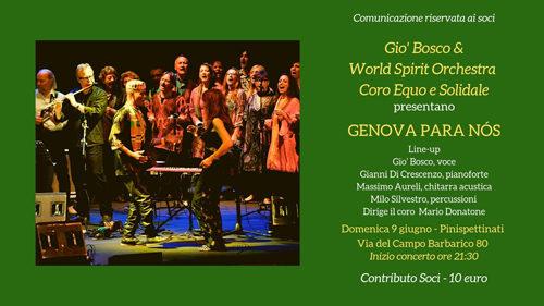 Gio' Bosco & World Spirit Orchestra presentano Genova Para Nós ai Pinispettinati di Roma