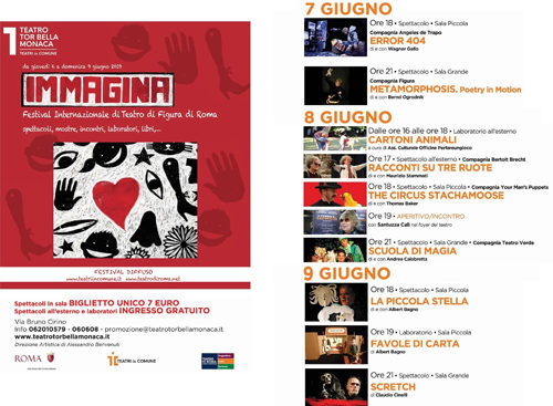 Immagina, Festival Internazionale di Teatro di Figura di Roma. Gli appuntamenti al Teatro Tor Bella Monaca di Roma