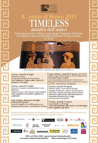 R…estate al museo 2019. Timeless – Attualità dell'antico. Conversazioni estive a Crotone