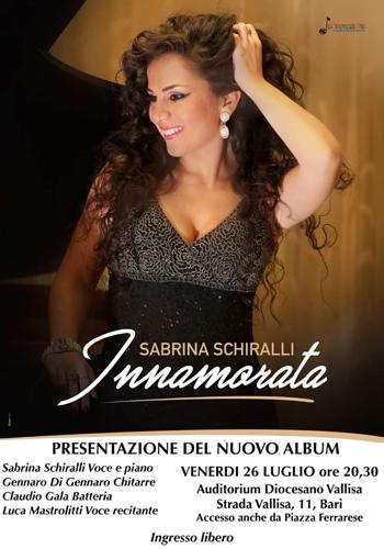 """Sabrina Schiralli, presentazione di """"Innamorata"""" il 26 Luglio a Bari"""