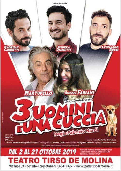 """Dona una cuccia ai randagi con """"Tre uomini e una cuccia"""" Martufello, Alessia Fabiani, Gabriele Carbotti, Andrea Dianetti, Leonardo Bocci"""