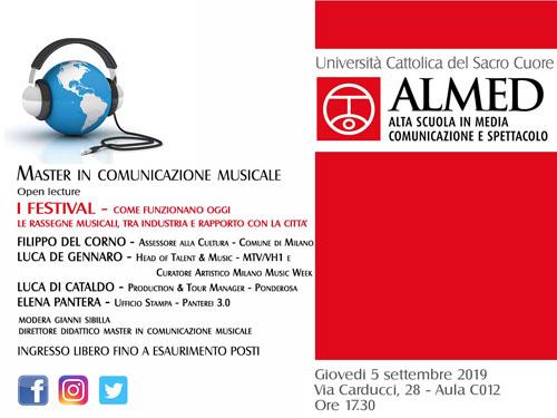Master in Comunicazione Musicale all'Università Cattolica Del Sacro Cuore di Milano