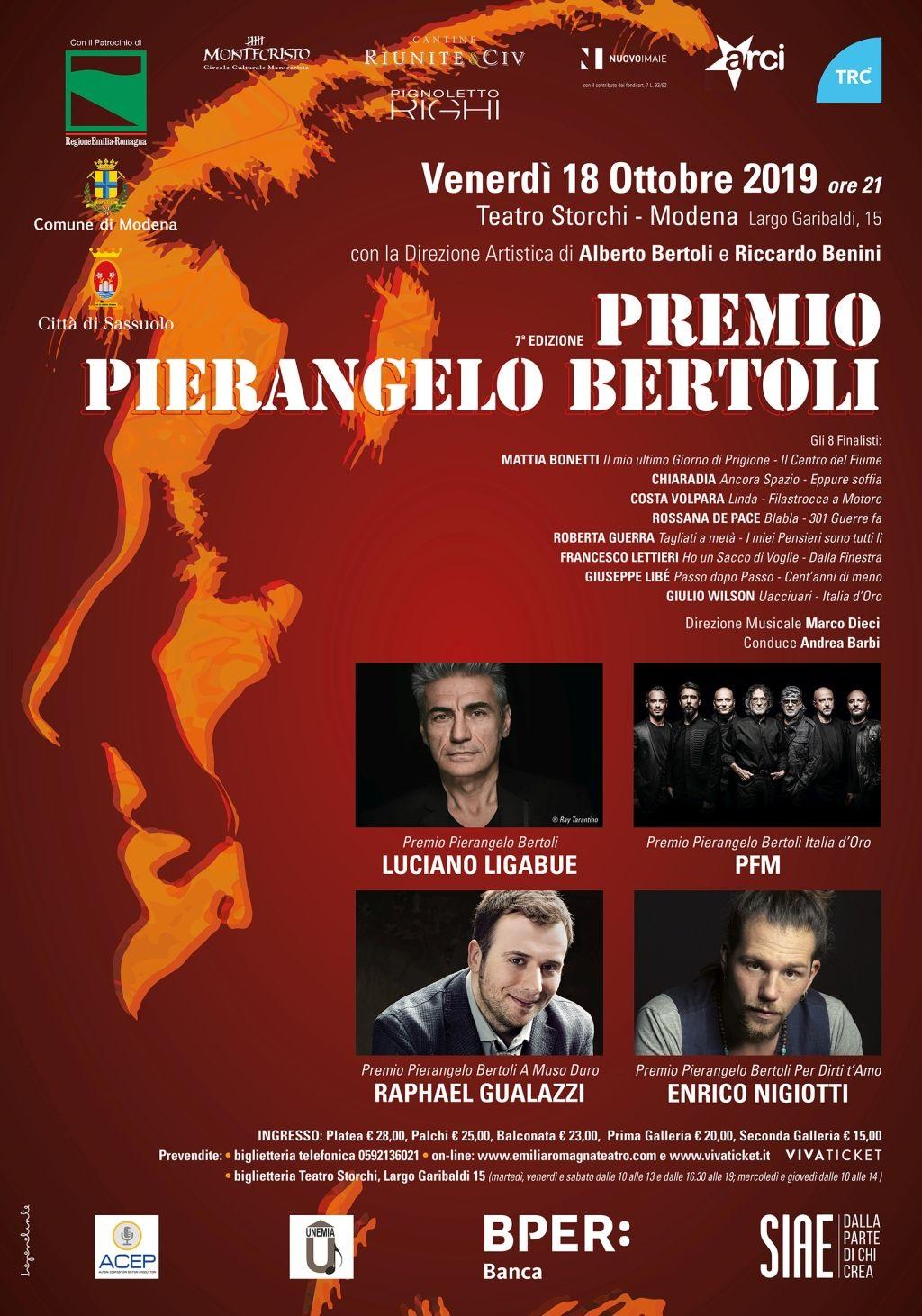 """Premio Pierangelo Bertoli 2019, annunciata la giuria che sceglierà il vincitore dei """"Nuovi Cantautori"""". Il 18 ottobre la finale al Teatro Storchi di Modena"""