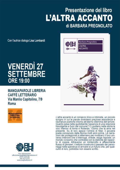 """Barbara Pregnolato presenta """"L'altra accanto"""" al Mangiaparole caffè letterario di Roma"""