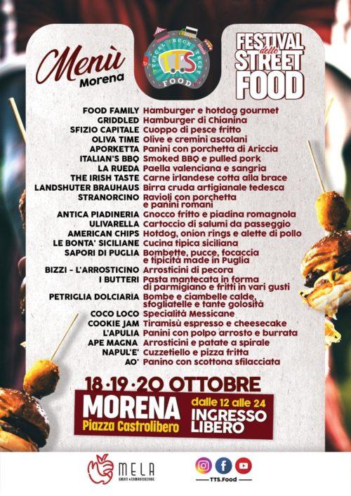 Il Festival Street Food approda a Morena, ecco il menù