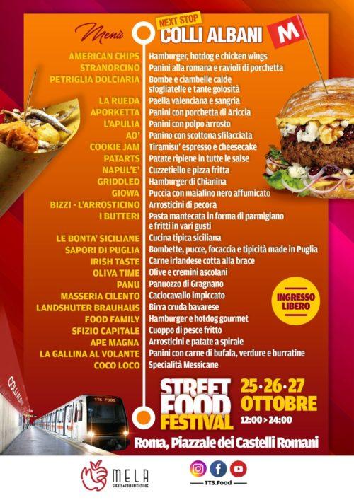 Festival Street Food Colli Albani-Roma, speciale ottobrata romana. Ecco il menù