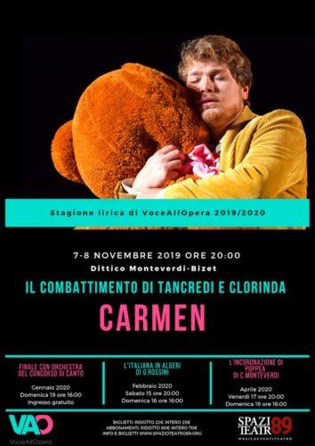 Al via la stagione lirica dello Spazio Teatro 89 di Milano con VoceAllOpera e il dittico Monteverdi-Bizet
