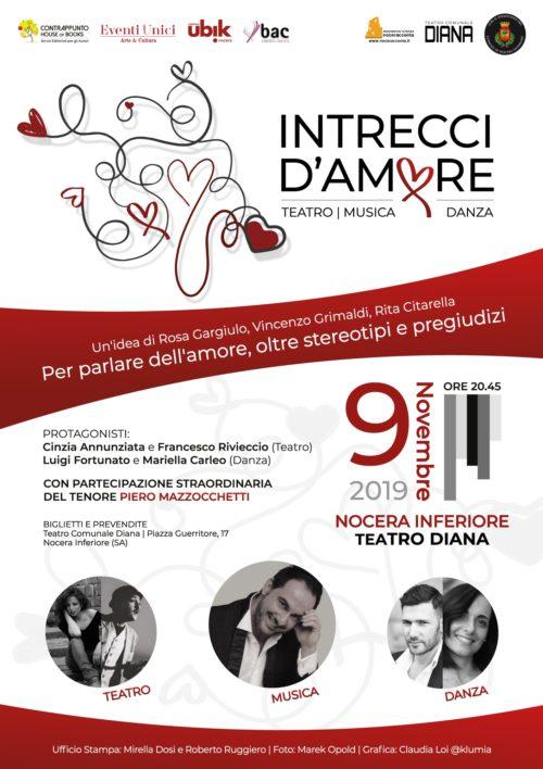 """""""Intrecci d'amore"""" lo spettacolo in scena la prima nazionale al Teatro Diana di Nocera Inferiore"""