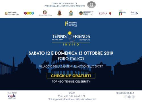 IX edizione di Tennis & Friends dall'11 al 13 ottobre al Foro Italico di Roma