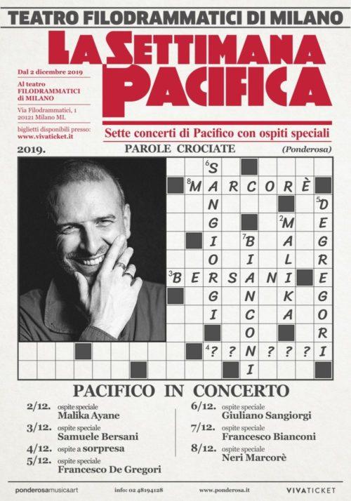 """""""La settimana pacifica"""", dal 2 all'8 dicembre al Teatro Filodrammatici di Milano 7 concerti di Pacifico con 7 ospiti speciali"""