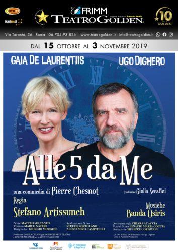 """Gaia De Laurentiis e Ugo Dighero in """"Alle 5 da me"""" di Pierre Chesnot al Teatro Golden di Roma"""