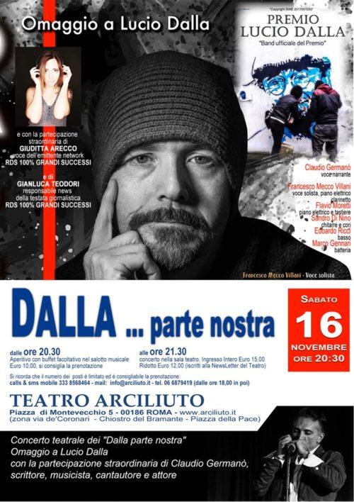 DALLA … parte nostra, concerto omaggio a Lucio Dalla al Teatro Arciliuto di Roma